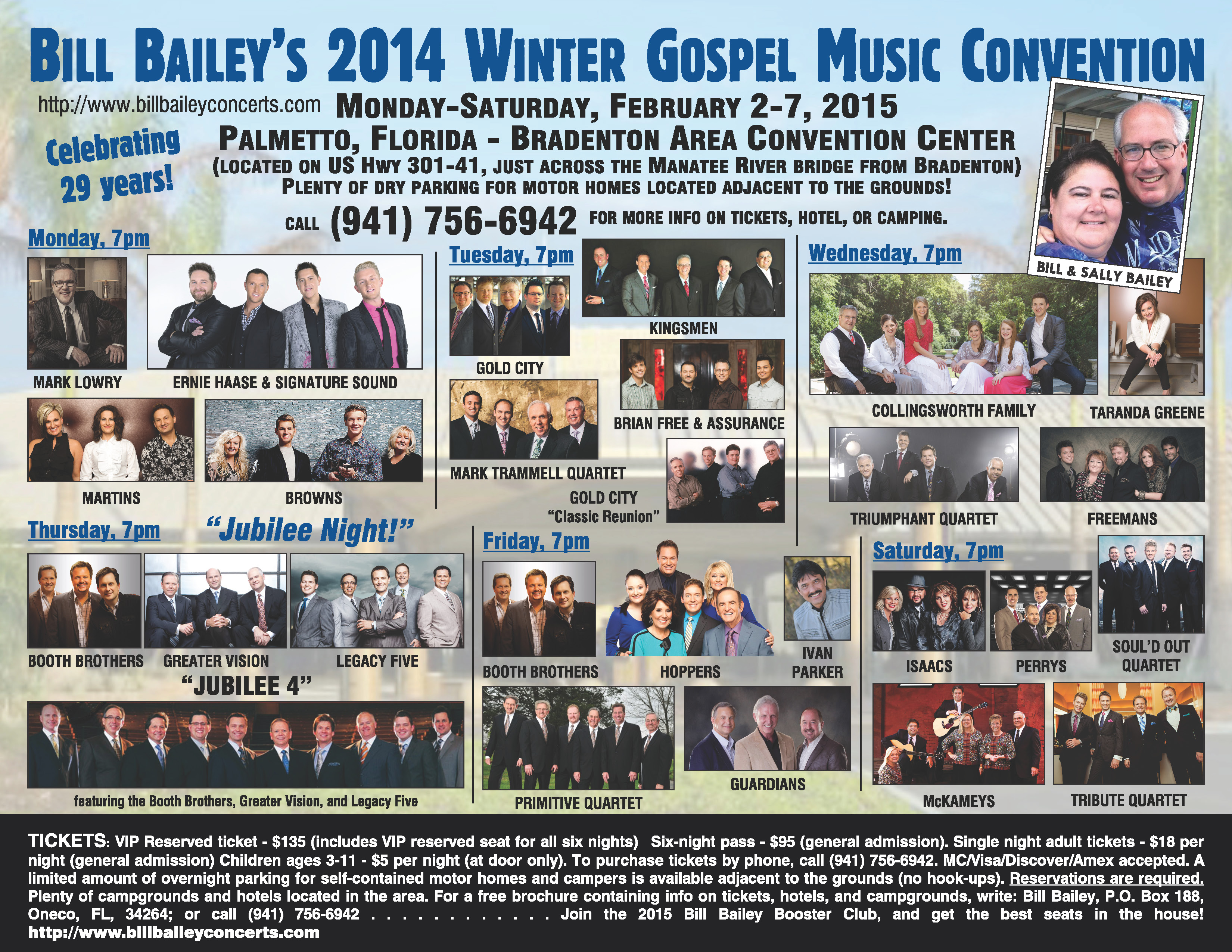 Bill Bailey's 2015 Winter Gospel Music Convention returns to Palmetto, FL!
