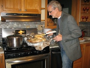 Dean Adkins carving a roast turkey