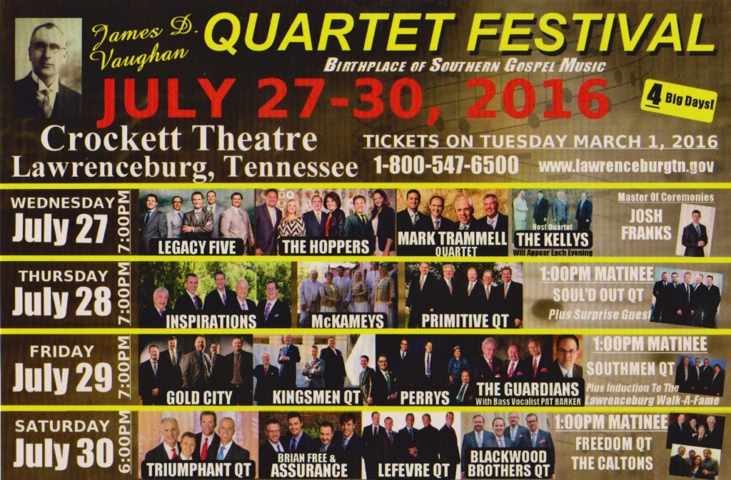 2016 JAMES D. VAUGHAN QUARTET FESTIVAL!