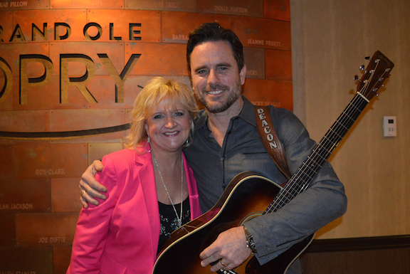 "Best-selling comedian Chonda Pierce and Charles Esten, star of CMT's hit television series, ""Nashville,"" backstage at the Grand Ole Opry®."