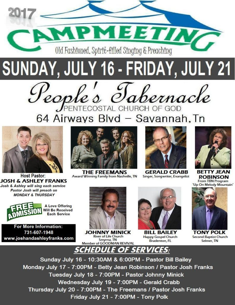 Savannah Campmeeting 2017 to feature Freemans, Gerald Crabb