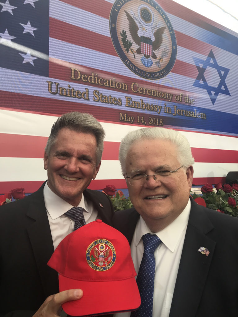 Pastor John Hagee (r) and TBN president Matt Crouch at the U.S. Embassy in Jerusalem