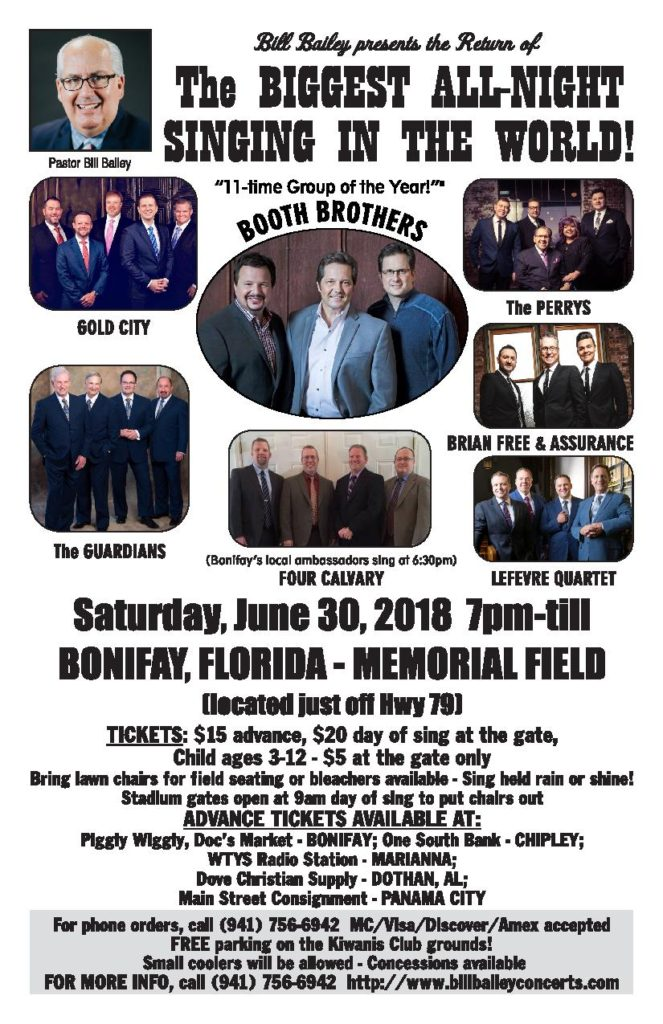 Bill Bailey presents Bonifay Florida's Biggest All Night Sing on June 30