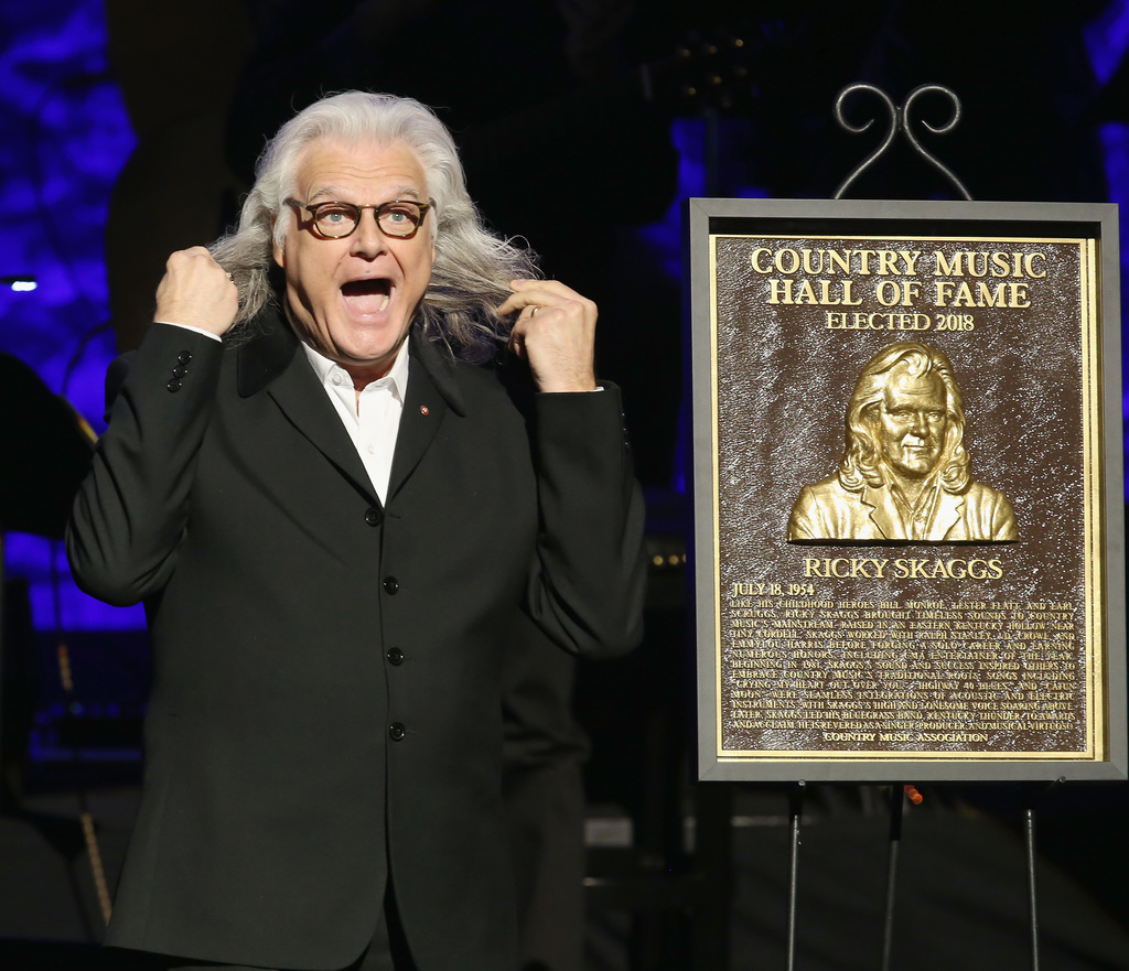 Ricky Skaggs exclaims over his likeness depicted on his newly unveiled Country Music Hall of Fame bronze plaque Photo credit: Terry Wyatt/Getty Images for Country Music Hall Of Fame