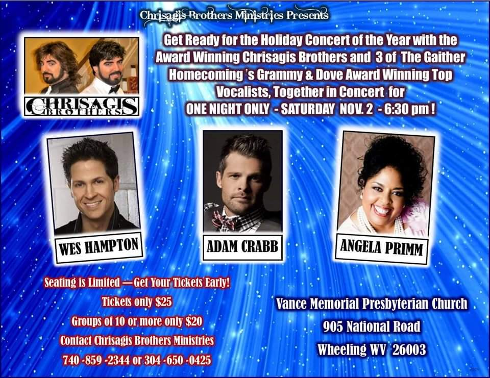 Chrisagis Brothers present Legends concert with Wes Hampton, Adam Crabb and Angela Primm