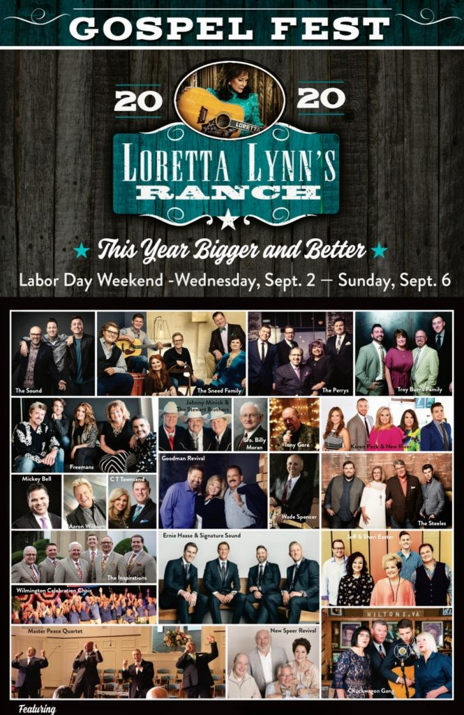 Gospel Music Festival at Loretta Lynn's Ranch Expands for 2020 Labor Day Weekend September 2 - September 6, 2020